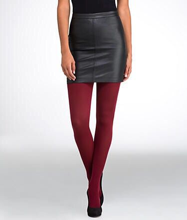 Pleather smooth/soft mini-skirt with HUE coloured Pantyhose / Heels /