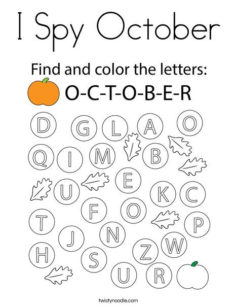 I Spy October Coloring Page - Twisty Noodle in 2020 ...