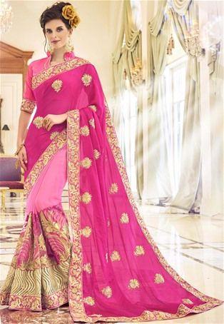 Pink Georgette Designer Saree #latest #newlyadded #dress #Saree #sale #nikvik #usa #designer #australia #canada #sari