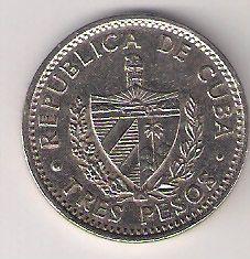Reverse - Moeda cubana 3 pesos