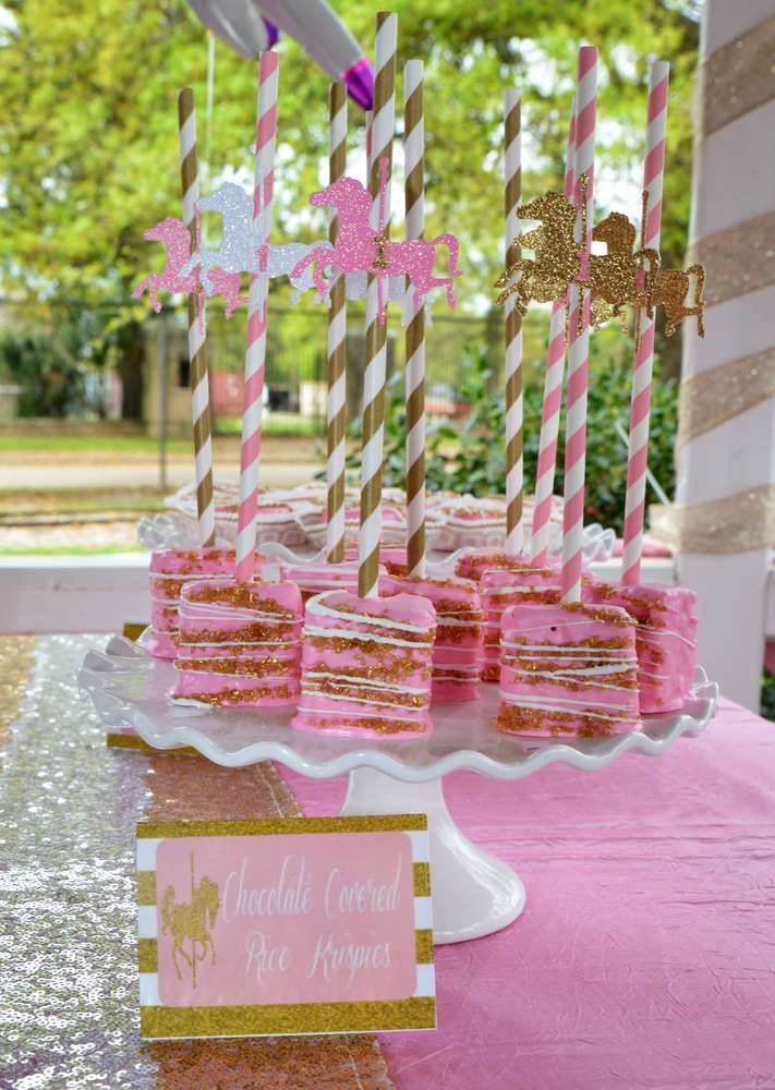 Rice Krispie treats at a carousel birthday party! See more party ideas at CatchMyParty.com!