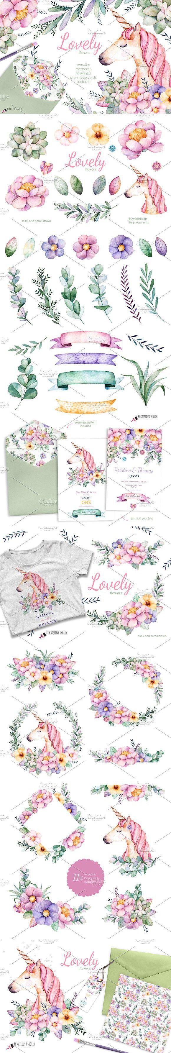 Lovely Flowers&Unicorn. Wedding Card Templates