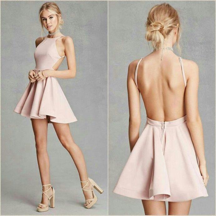 Sexy Satin Jewel Neckline backless Short A-line Homecoming Dresses