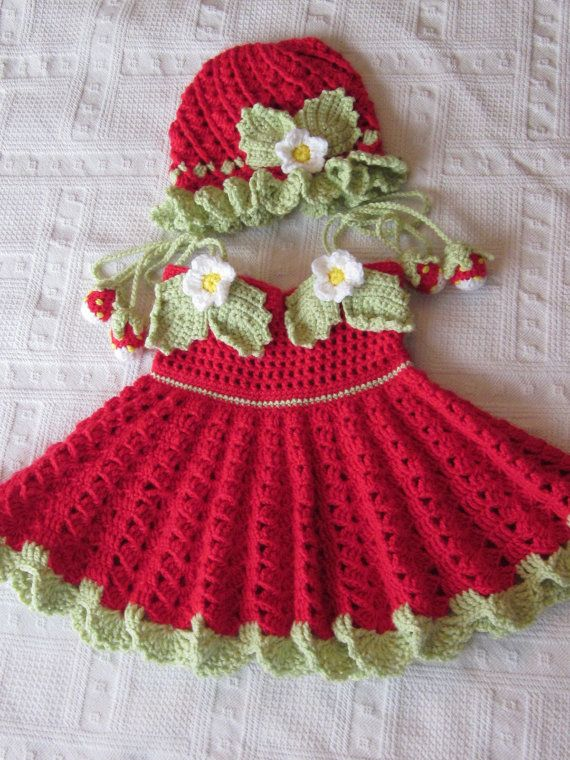 Handmade Baby Girl Crochet Dress and Hat Set With strawberry decoration (3-12 month)