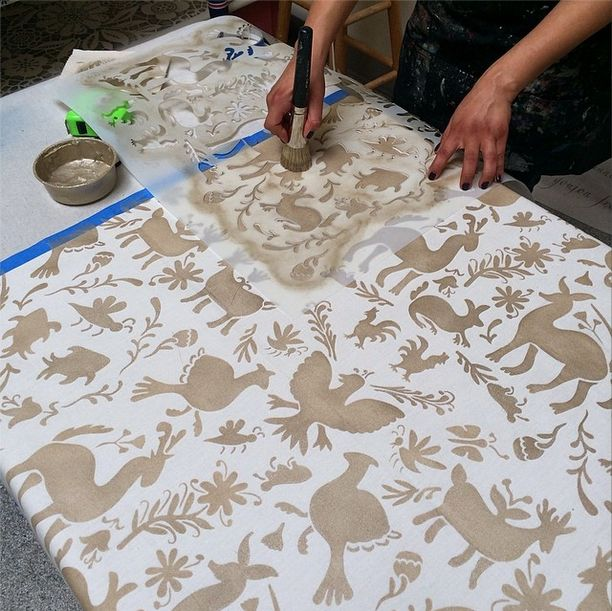 DIY stenciled Otomi table cloth | Small Otomi Folk Art Furniture Stencil | Royal Design Studio