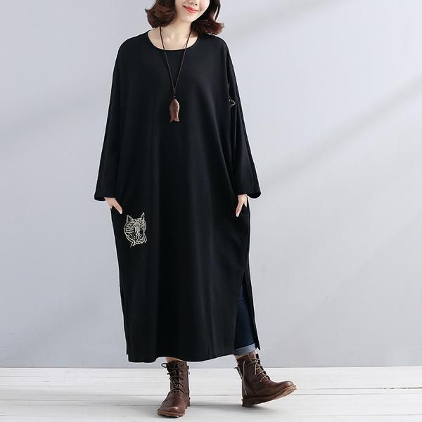 Women Black Long Sleeve Embroidery Pockets Side Slit Dress - Buykud