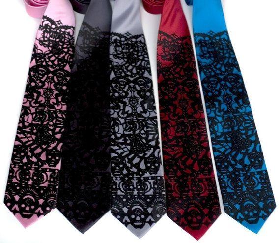 Papel picado screenprinted silk necktie. Dia de los by Cyberoptix