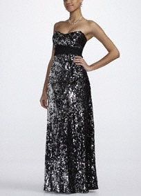 Sultry and full of drama, you will definitly turn heads in this all over sequin prom dress!  Strapless bodice features dazzling all over sequin for an ultra glamorous look.  Empire waistband creates a flattering silhouette.  Fully lined. Back zip. Imported polyester. Hand wash.