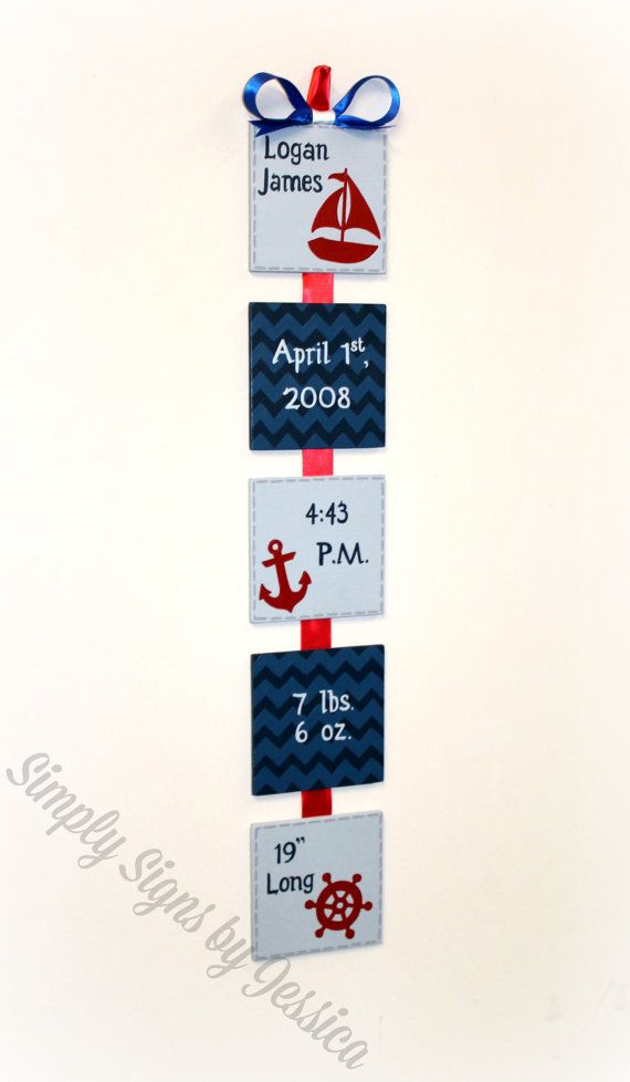 Nautical Themed Birth Announcement sign for by SimplySignsByJess