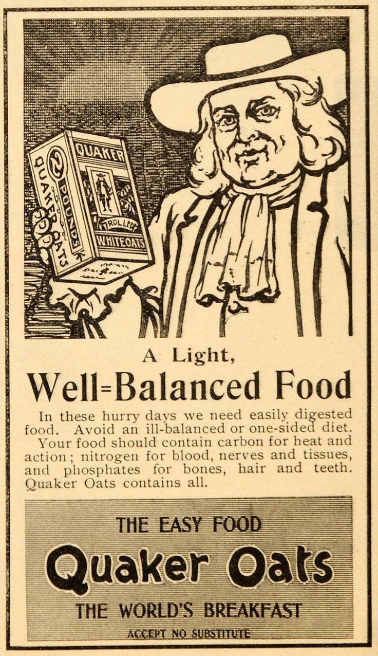 1899 Ad Antique Quaker Rolled Oats Breakfast Food - ORIGINAL ADVERTISING OD3