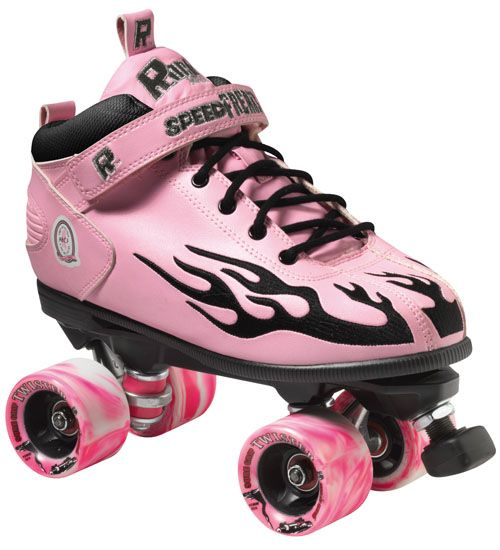 The Rock Flame Speed Skate offers deluxe synthetic leather uppers. Cambrelle lining, comfort padded collar, cushioned contour insole. Rock nylon plates and trucks, Sure Grip 62mm X 40mm. Twister wheels, 62mm x 40mm x 96A Hardness. Colors white w/ Red, White w/ Green, White w/ Purple, Yellow w/Red, White w/Blue, White w/Black, White w/Pink, White w/Yellow. Mix any color combination for that custom look. Rock ABEC 5 bearings and mini round adjustable toe stops.