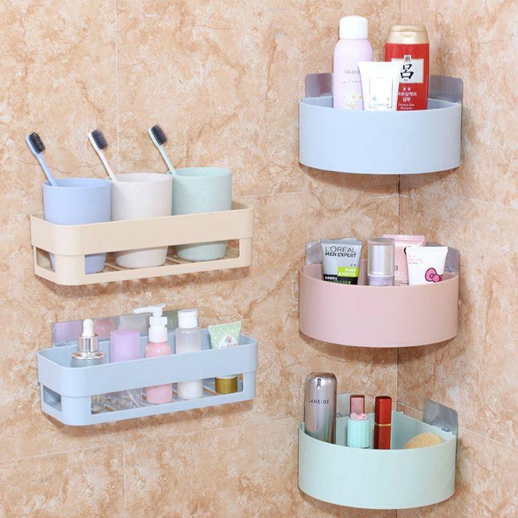 FHEAL Plastic Statief Opslag Houders Badkamer Hoek Zelfklevende Muur Toiletartikelen Diversen Organizer Frame Keuken Opbergrek