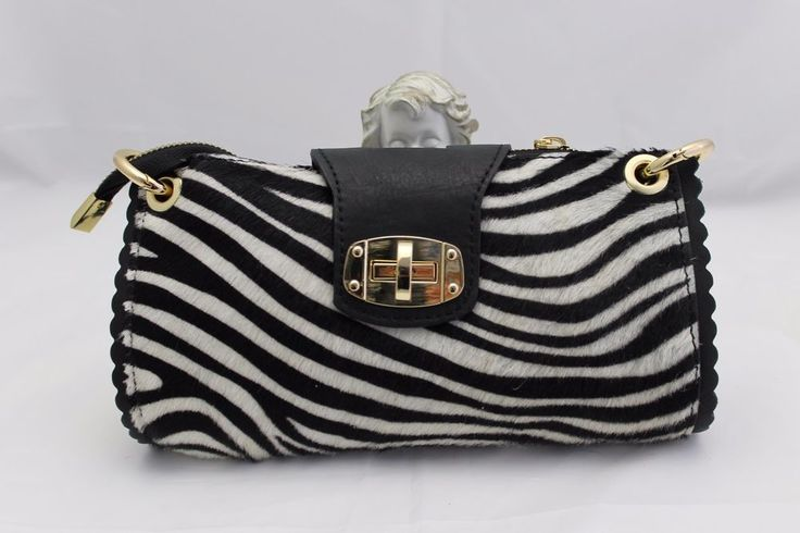 Fell Echtleder Italy Clutsch Handtasche  Leder Echt Zebra Luxus  Made in Italy