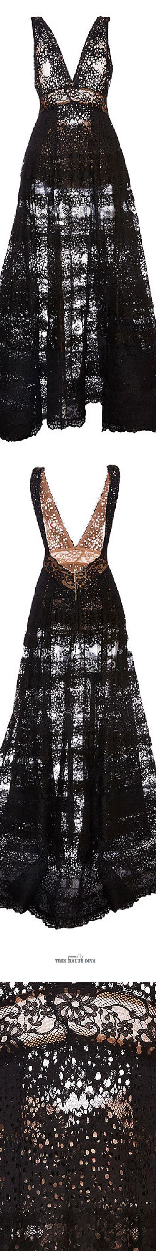 Ellie Saab Black Lace Deep V-Neck Gown ♔ SS 2015