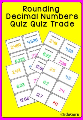 Rounding Decimals Quiz Quiz Trade Game from EduGuru on TeachersNotebook.com - (10 pages) - Rounding Decimals Quiz Quiz Trade Game is a WINNER! 48 cards (24 question and 24 answer cards) The purpose of the game is to practice rounding decimals to the nearest tenth, hundredth and whole number. How Quiz Quiz Trade works: All students stand up a