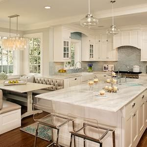 Harry Braswell Inc - kitchens - glass pendants, kitchen island, turquoise blue