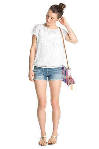 edc - Shirt af hæklede blonder i Esprits Online-Shop