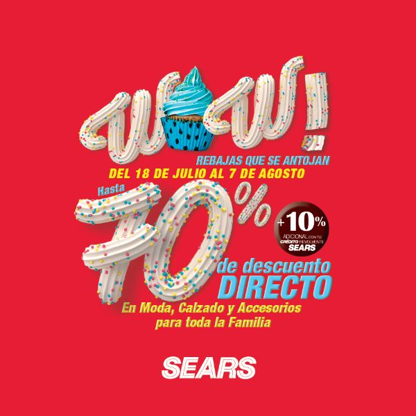 Las tiendas Sear tienen sus terceras rebajas con Hasta 70% de descuento directo + 10% adicional con tu crédito revolvente Sears en Moda, Calzado y Acc...