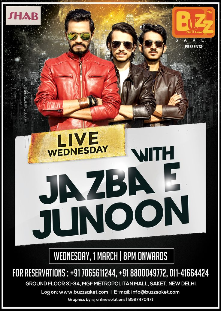 This Wednesday, the amazing band JAZBA - E - JUNOON will spread their magic at Buzz Saket.So you know where to spend your Wednesday Night!!!Witness a dynamic fusion of the most soulful music tracks that will make you groove all night long.You can enjoy Dance, Drinks and Food etc.So put on ur party gears and rush to the Most Elite Nightclub of Town. #Party #Music #Delhi #Bar #Beer #Nightlife #Wednesday #Drinks #Booze #Delhinight #Buzzsaket