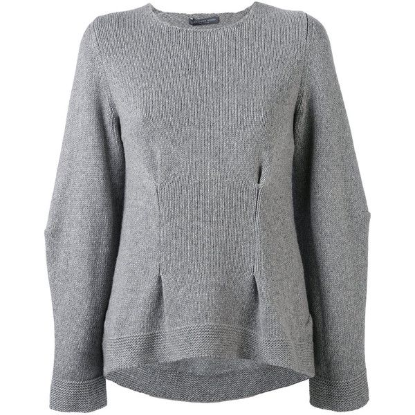 Alexander McQueen cashmere dart detailed jumper ($970) ❤ liked on Polyvore featuring tops, sweaters, grey, cashmere sweater, goth sweaters, cashmere crewneck sweater, grey cashmere sweater and long sleeve jumper