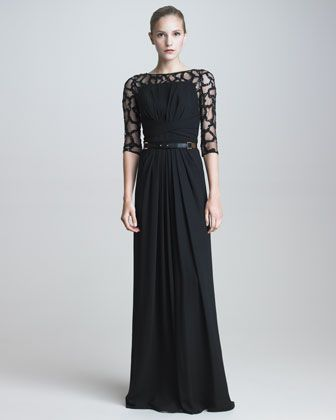 GORGEOUS!!!!!!!! Gown with Beaded Illusion Lace & Leather Belt by Elie Saab at Neiman Marcus.