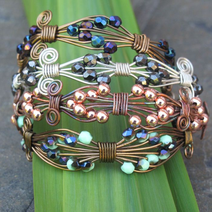 great idea for wire wrapping a bead bracelet. Florence Cuff Bracelet | JewelryLessons.com