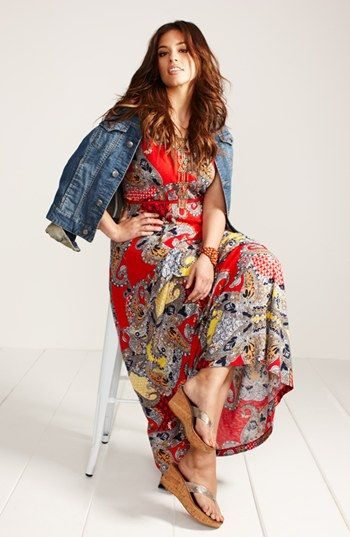Plus Size Lucky Brand Maxi Dress and Denim Jacket from Nordstrom