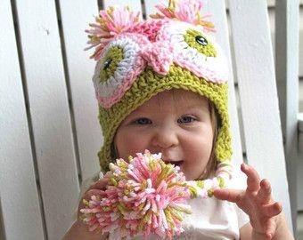 Crochet búho sombrero, sombrero de buho, sombrero Animal, bebé búho sombreros, sombrero del bebé, niña sombreros, sombreros de los niños, los niños sombreros, sombreros del ganchillo, tejer sombreros, fotos Prop