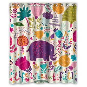 Стильный индивидуальные веселые и прекрасный слон полиэстера занавески для душа 60 x 72