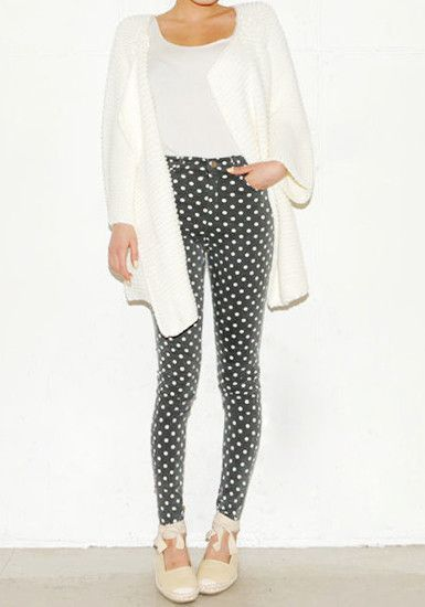 Oversize Open Front Cardigan & dotted pants