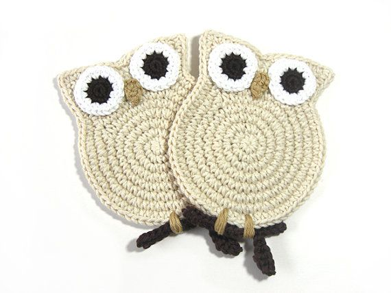 Crochet Coasters Owl Cream