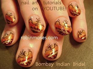 Nail-art by Robin Moses: indian wedding nails, fall wedding, fall designs, fall nail art, nail art design, nail art designs, autumn nail ide...