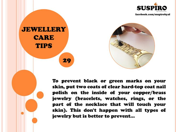 #Suspiro #Jewellery #CareTips TIP 29  To prevent black or green marks on your skin, put two coats of clear hard-top coat nail polish on the inside of your copper/brass jewelry (bracelets, watches, rings, or the part of the necklace that will touch your skin). This don't happen with all types of jewelry but is better to prevent…  www.facebook.com/suspirobyaf