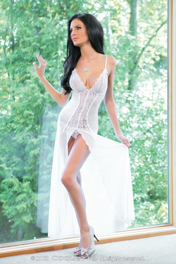 Mesh Stretch Lace Gown One size Mesh/scallop stretch lace floor length gown. With adjustable straps. Open front detail with scalloped flounce hem. Includes matching g-string.
