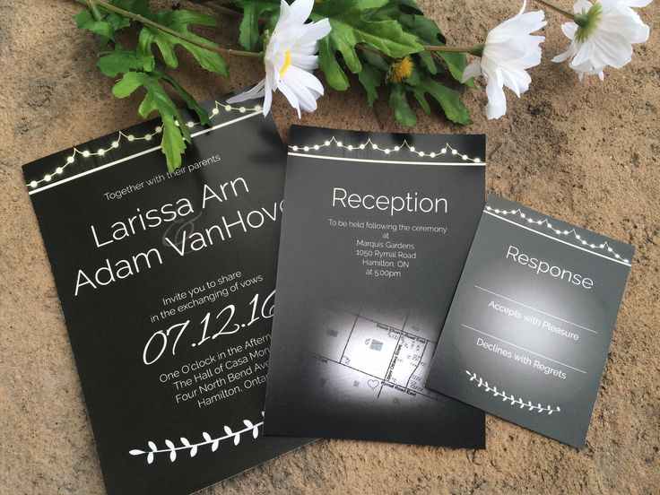 Rustic chalkboard wedding invitations with hanging light graphics. Includes invitation, reception insert and RSVP card. Features hand drawn map of location of reception. For more information visit our website www.theonyxstudios.com