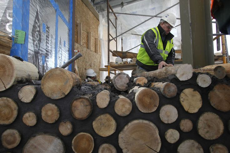First-in-U.S. commercial cordwood construction goes up on Kalamazoo College's Arcus Center | MLive.com
