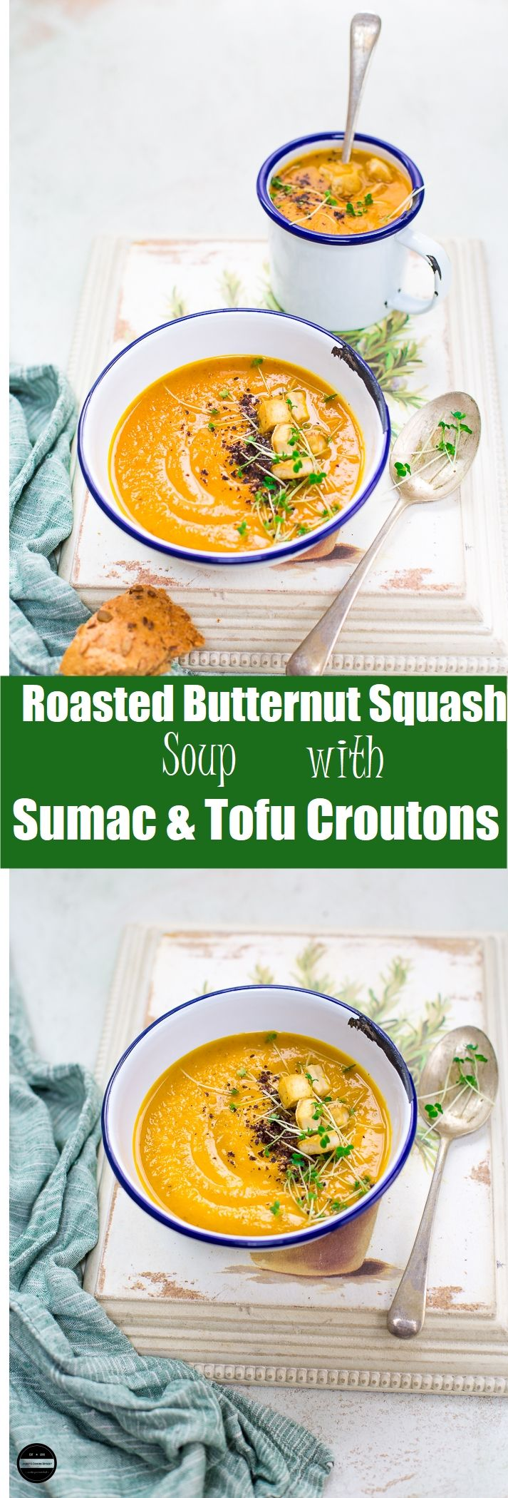 Vegan Roasted Butternut Squash Soup with Sumac and Tofu Croutons.