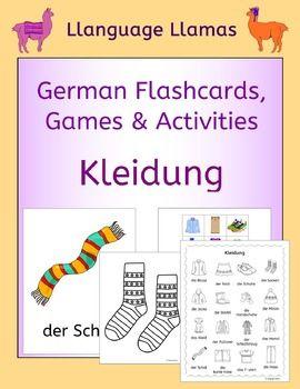 103 pages of resources to teach German clothes vocabulary, great for teaching elementary students. This German clothing vocabulary set includes: die Mtze, der Schal, die Schuhe, die Socken, die Handschuhe, das Hemd, die Blusa, das T-shirt, die Jacke, die Hose, der Pullover, die kurze Hose, der Rock, das Kleid, die Stiefel,  der Schlafanzug.The German clothes pack comprises:1.