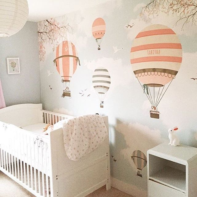Sweet hot air balloon wallpaper ☁️ lapel de pared por encomenda aqua ☁️ www.littlecloud.pt