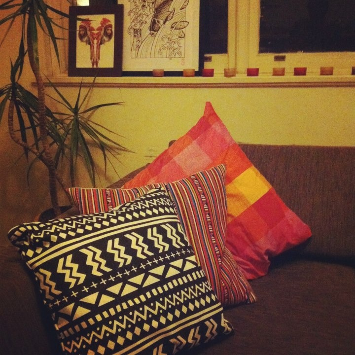 Marianne Duvall's uber cool living room with our Whistles and Handclaps cushion!