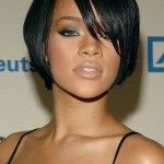African American Short Hairstyle for Round Face with Side Bangs