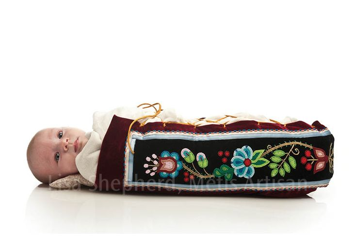 Métis Mossbag - baby carrier, with beaded, embroidered or quilled artwork, by Lisa Shepherd (http://lisashepherd.ca/)