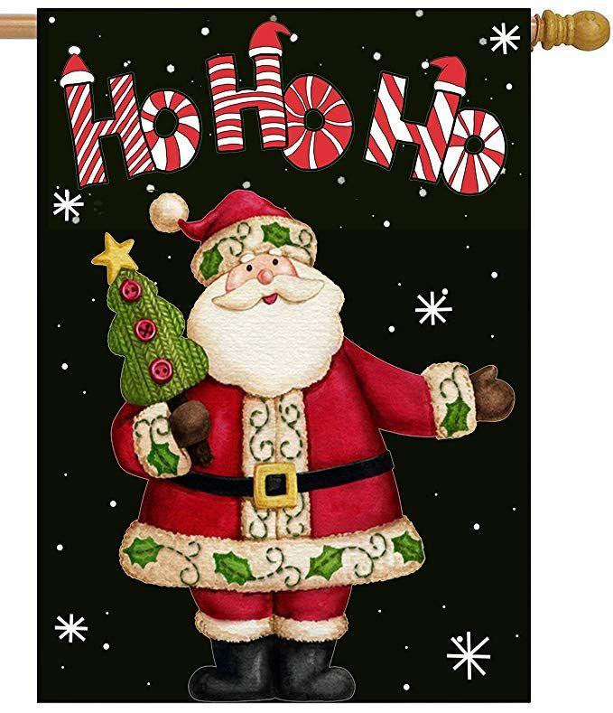 Christmas Garden Flag Santa Clause Snowman Double Sided Banner Xmas Gifts Decor