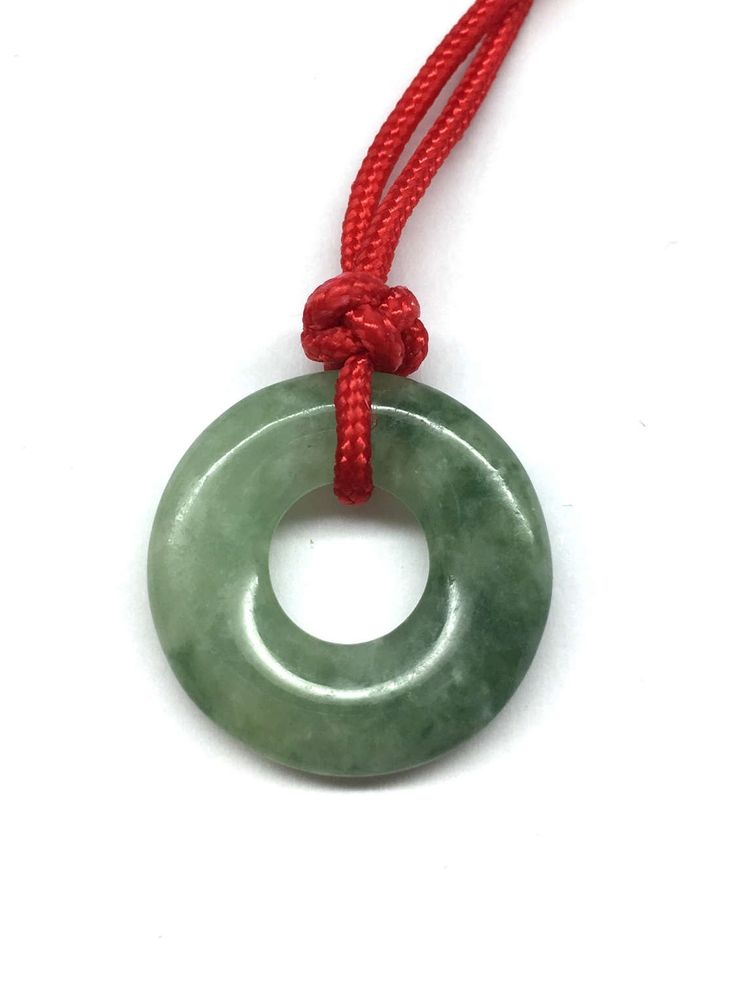 Antique Carved Green Jade Disc Safety Buckle (平安扣) (Over 100 Years Old from Qing Dynasty) Pendant with Adjustable Red Cord Necklace by RitaCollection on Etsy