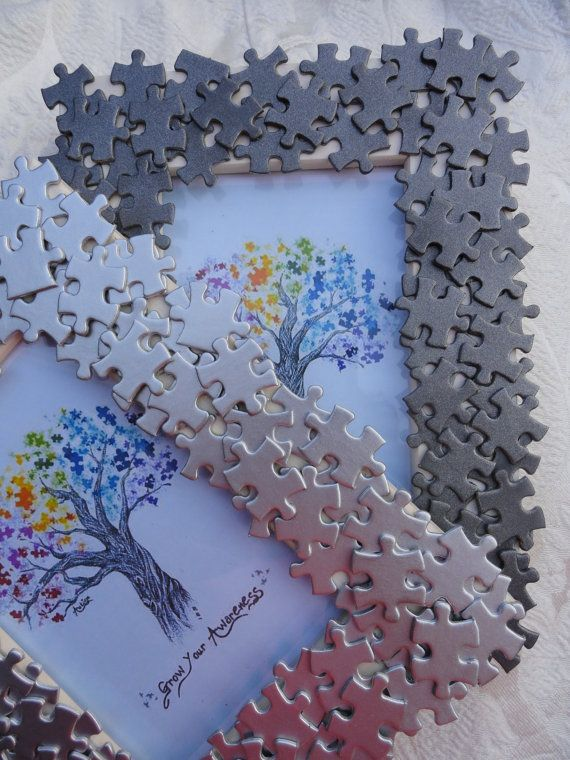 Autism Awareness handmade photo frame with recycled puzzle pieces, logo for Autism Asperger & (ADHD classic autisten PDD NOS etc)