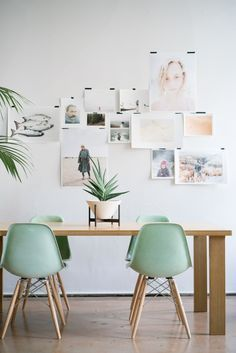 green Modernica Case Study Fiberglass Shell Chairs in Jadeite with Dowel Base pinned by barefootstyling.com