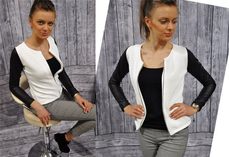 Nová módní Ženy Zipper Jackets Patchwork vatové O-výstřih s dlouhým rukávem PU kůže šití Jacket Coat vynosit