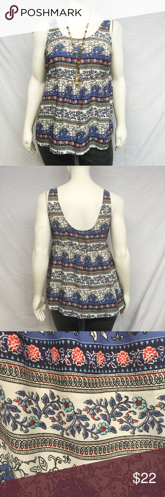 Torrid Boho Print Tank Cute boho print tank top from torrid! Empire waist. Looks awesome with statement boho jewelry! New with tags, never worn. Smoke and pet free home. torrid Tops Tank Tops