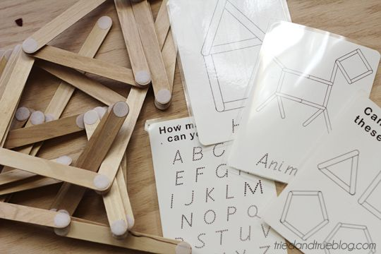 Shape Sticks - Great quiet time activity - all printables free!