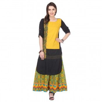 Rayon Mustard & Black Printed Stitched Kurti With Palazzo - KP165199